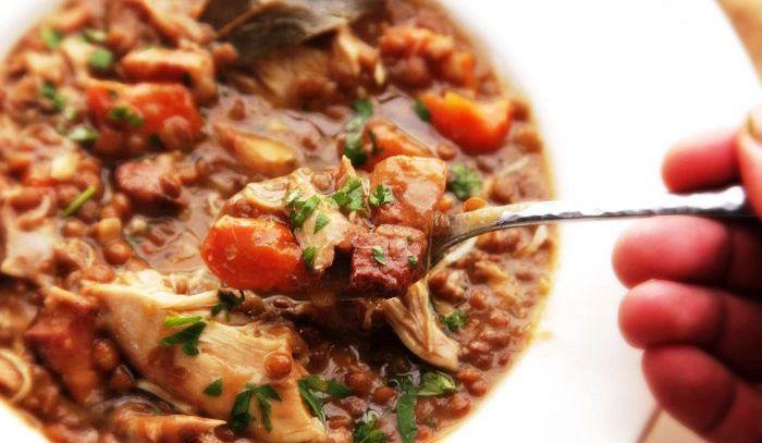 Minestra di lenticchie e filetti d'anatra
