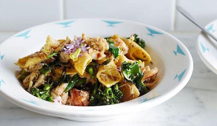 Garganelli spinaci e pancetta