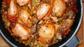 Pollo in casseruola e lenticchie
