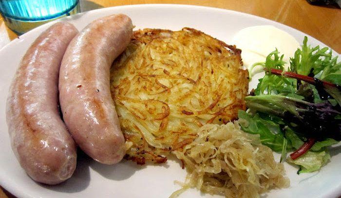 Brätwurst di vitello con rösti di patate
