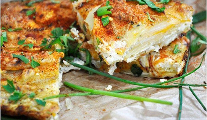 Zucca, patate e ricotta in teglia
