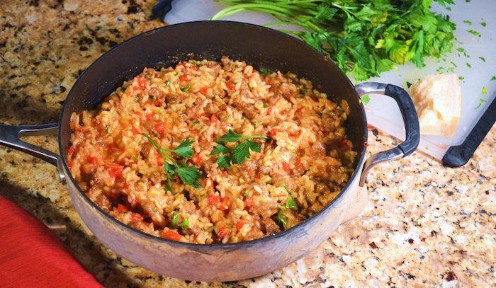 Risotto con salsiccia e peperoni - Microonde
