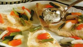 Rombo al vapore con salsa al Roquefort