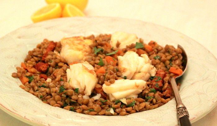 Merluzzo con lenticchie rosse piccanti