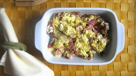 Uova strapazzate con pomodori secchi e salame