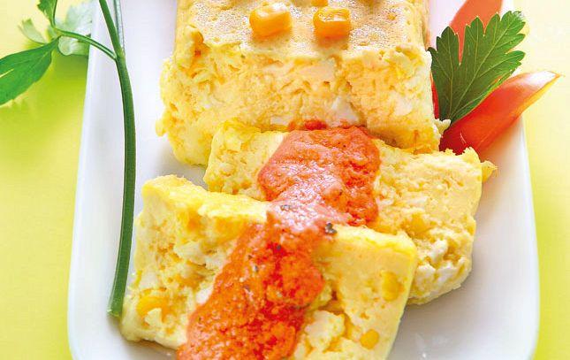 Terrina di mais e salsa di pomodoro crudo