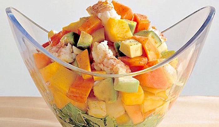 Insalata di gamberi e papaia