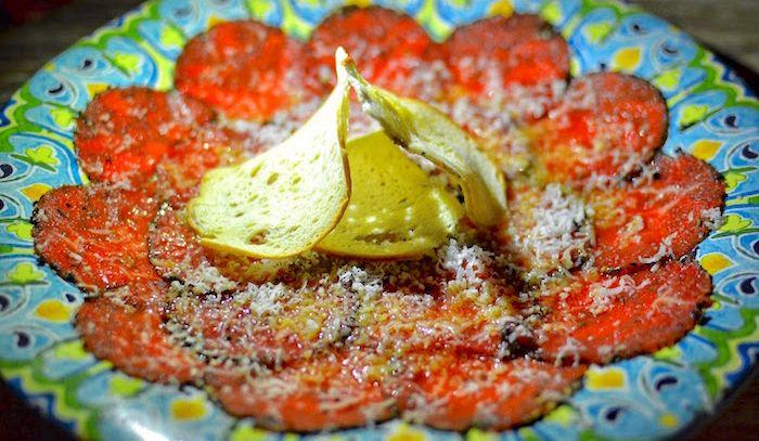 Tiepido carpaccio di astice con patate