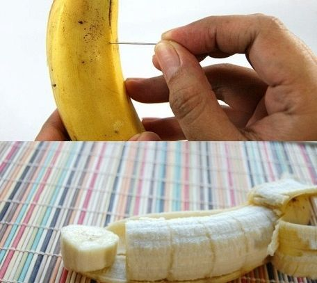 Affettare una banana senza aprirla