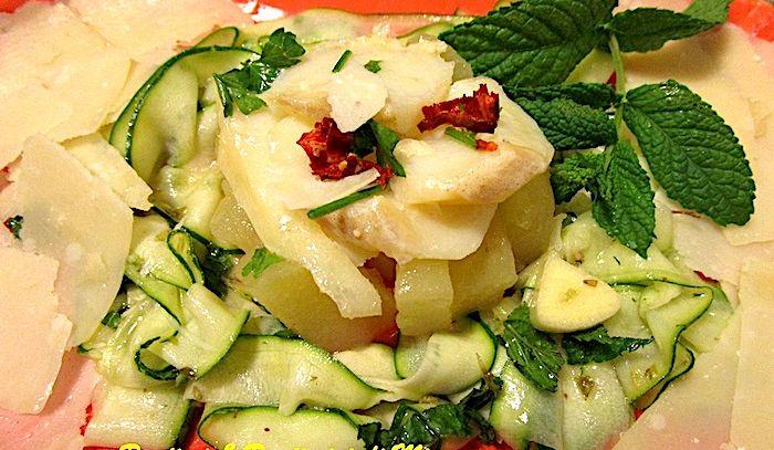 Baccalà con patate e carpaccio di zucchine