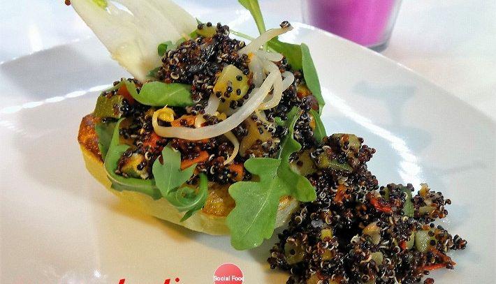 Barchette di chayote con quinoa nera