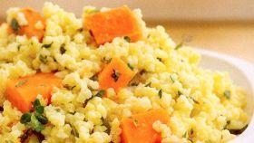 Miglio al timo con patate dolci e carote