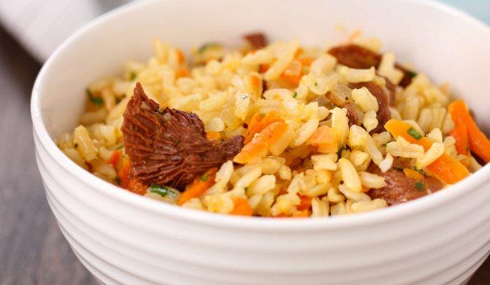 Risotto integrale alle carote e funghi