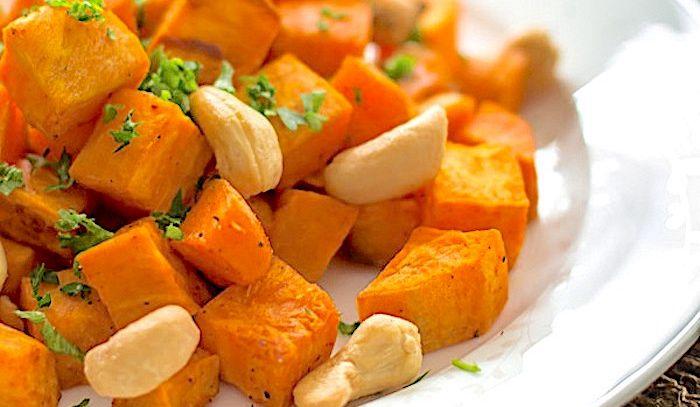 Patate dolci al forno con anacardi