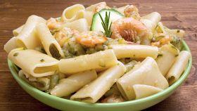 Paccheri crema di zucchine e gamberi