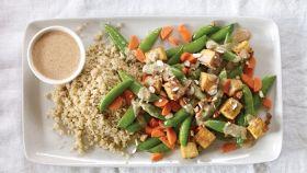 Piselli, carote e tempeh