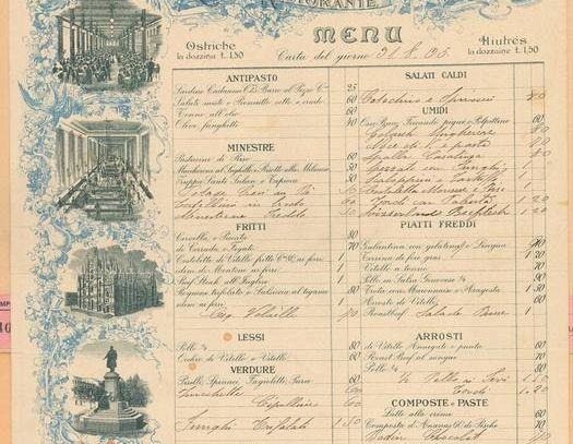 In mostra al Biffi Milano il menu storico del 1905