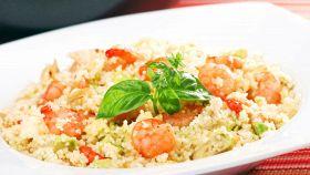 Couscous con pistacchi e gamberi
