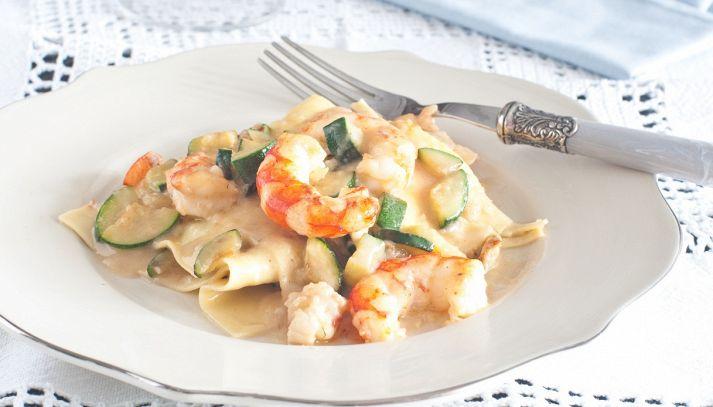 Lasagnette con gamberi e zucchine