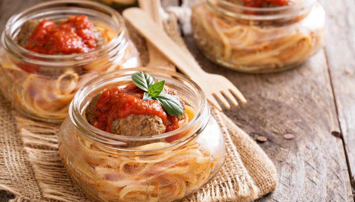 Spaghetti con le polpette in barattolo