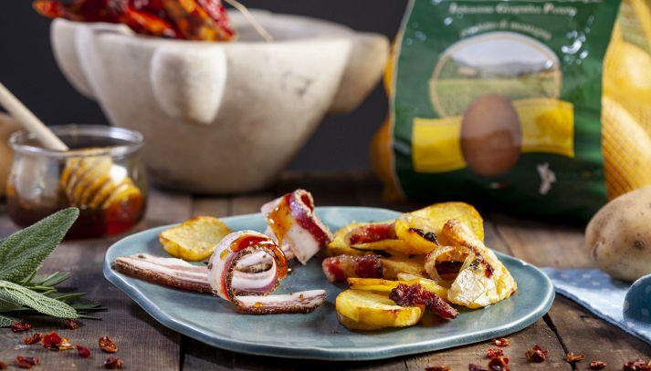 Patate al forno con pancetta e peperoncino calabrese