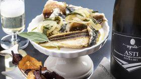 Pescetti in carpione con chips di radici – Asti Docg Extra Dry