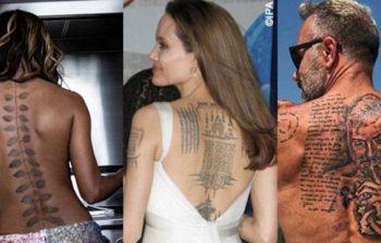 Angelina Jolie con la schiena ricoperta di tattoo, c'è anche una tigre