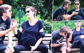 Kim Rossi Stuart, lite al parco con Ilaria Spada incintissima