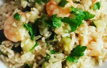 Facile da fare a casa: riso lightt con zucchine e gamberetti