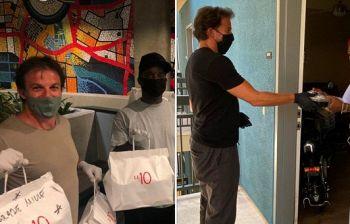 Alex Del Piero a Los Angeles porta cibo alle famiglie in difficoltà