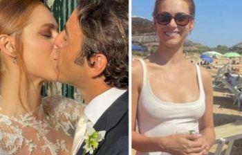 Miriam Leone dopo le nozze al mare in costume bianco a festeggiare con...