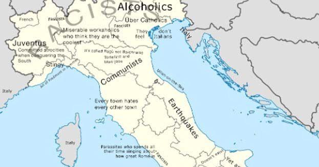 Cartina Campania Con Tutti Comuni.L Italia Nella Mappa Degli Stereotipi E Degli Insulti Initalia