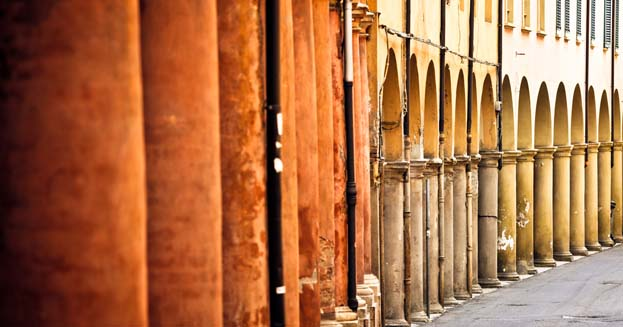 Porch Architecture in the Streets of Bologna, Italy