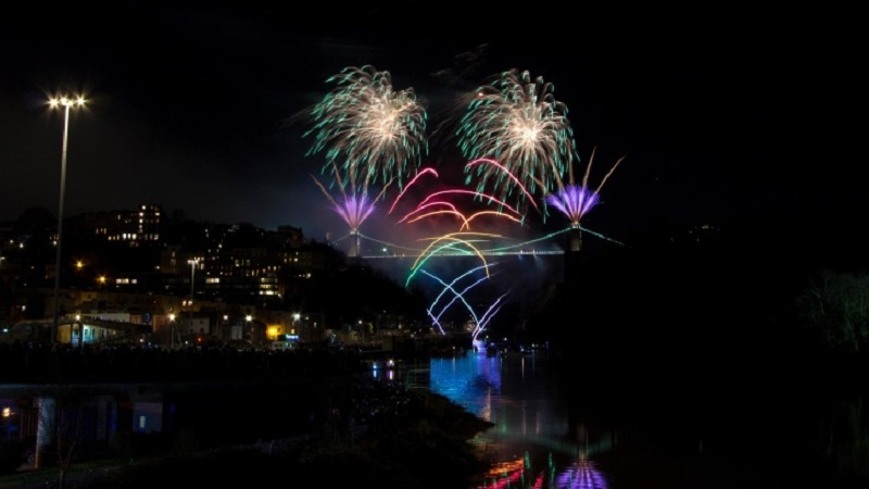 fire works, night, bridge, river, fireworks, red, new year's eve