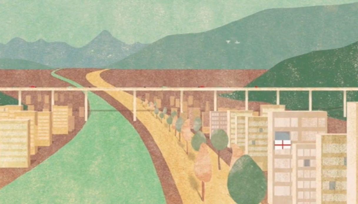 Grapheland, un cartone celebra il nuovo ponte di Genova