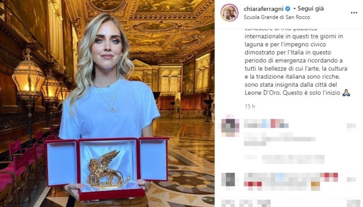 Chiara Ferragni premiata col Leone d'Oro a Venezia