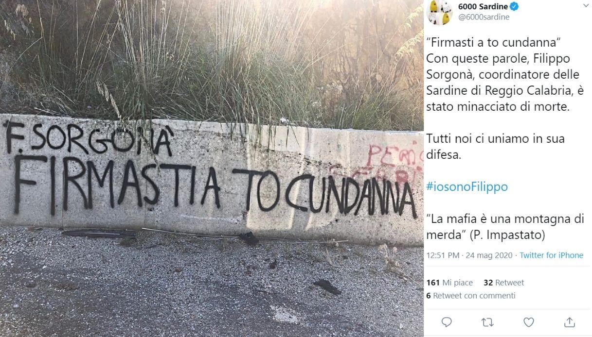 Sardine, coordinatore calabrese minacciato dalla 'ndrangheta