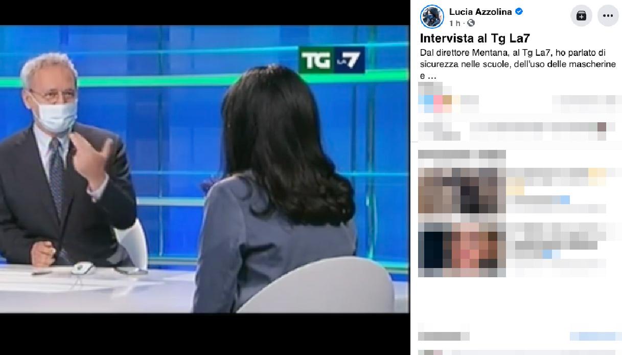 Mentana intervista Azzolina con la mascherina: social scatenati