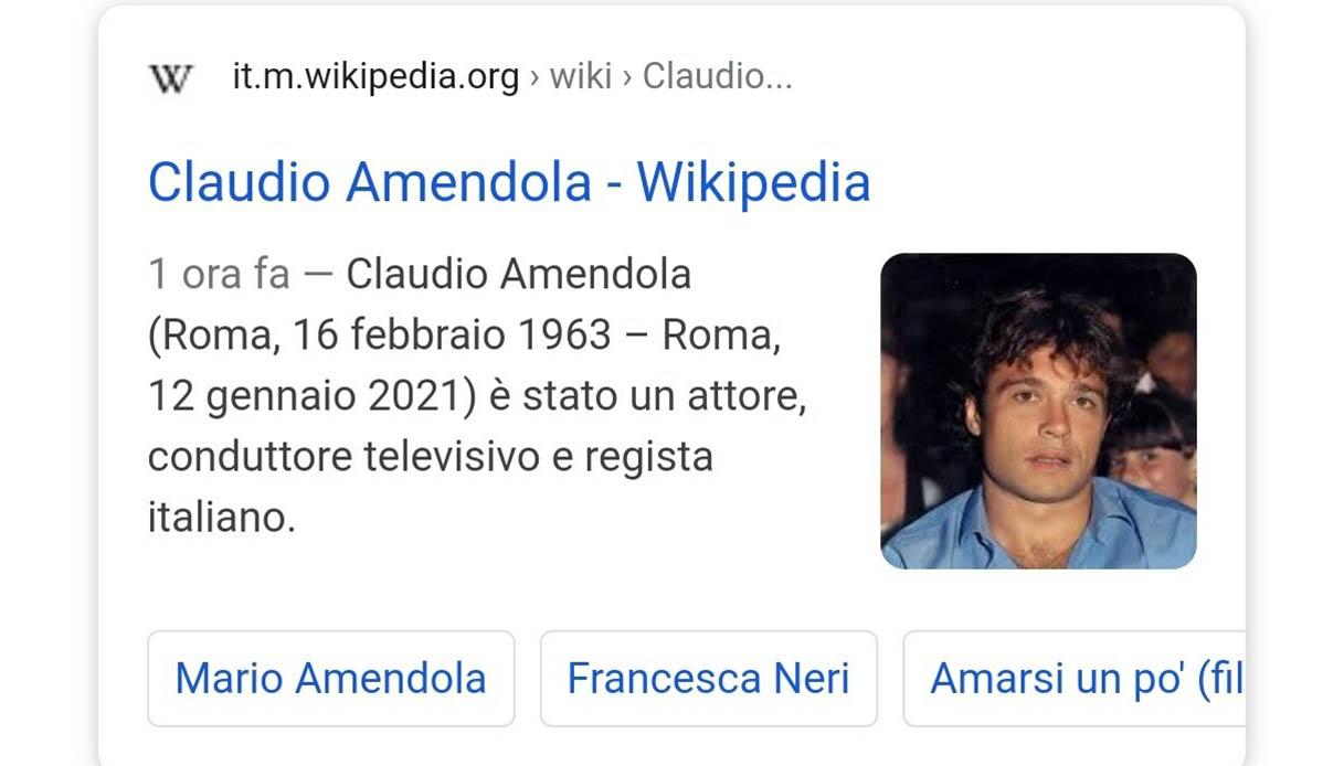 """""""È morto Claudio Amendola"""": la fake news su Wikipedia"""