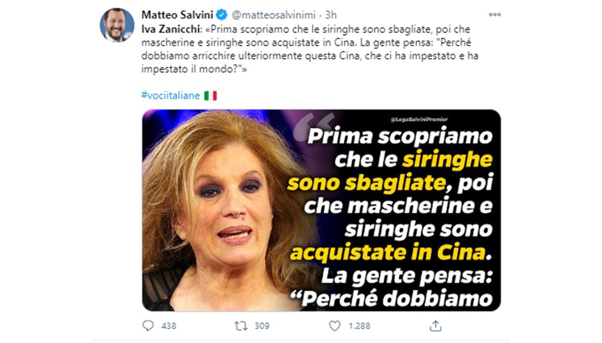 """Salvini cita Iva Zanicchi: """"Impestati dalla Cina"""". Bufera social"""
