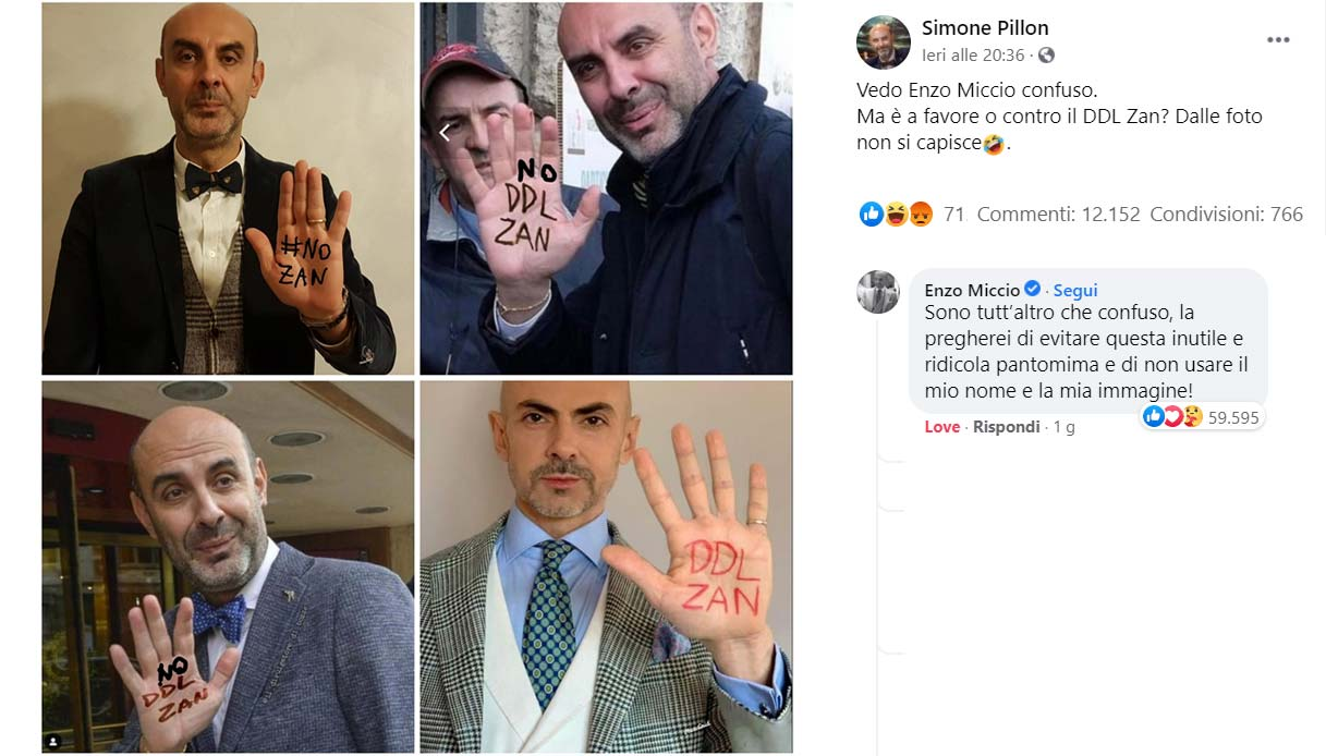 Ddl Zan, Pillon usa una foto di Enzo Miccio: è scontro sui social