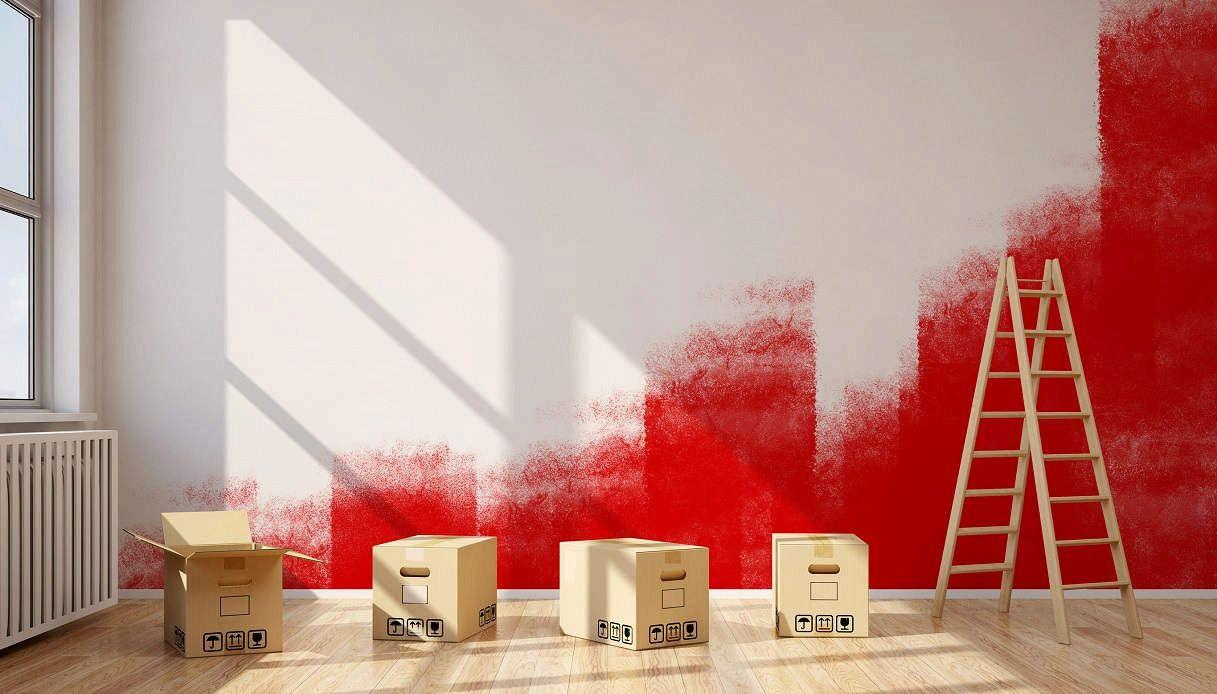 Rinnovare Pareti Di Casa come pitturare di bianco una parete rossa