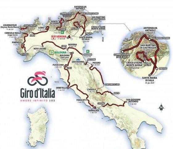 Cartina Italia Con Distanze Km.Giro D Italia 2019 Il Calendario Delle Tappe Virgilio Sport