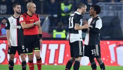 Lazio-Juve, lite tra Bonucci e Cuadrado: testa a testa
