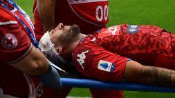 Colpo alla testa, Ospina lascia il campo in barella