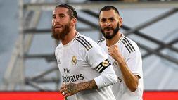 Rigore di seconda tra Ramos e Benzema: l'arbitro fa ripetere