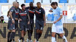 L'Udinese fa 3-0 a Ferrara, Spal vicinissima al baratro