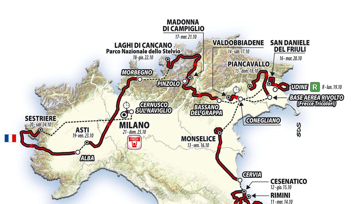 Cartina Italia Completa.Giro D Italia 2020 Mappa La Mappa Completa Del Giro D Italia 2020 Tutto Il Percorso Virgilio Sport