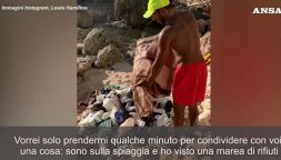 Lewis Hamilton mostra in un video i rifiuti raccolti in spiaggia