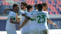 Sassuolo, ribaltone a Bologna: pazzo 3-4